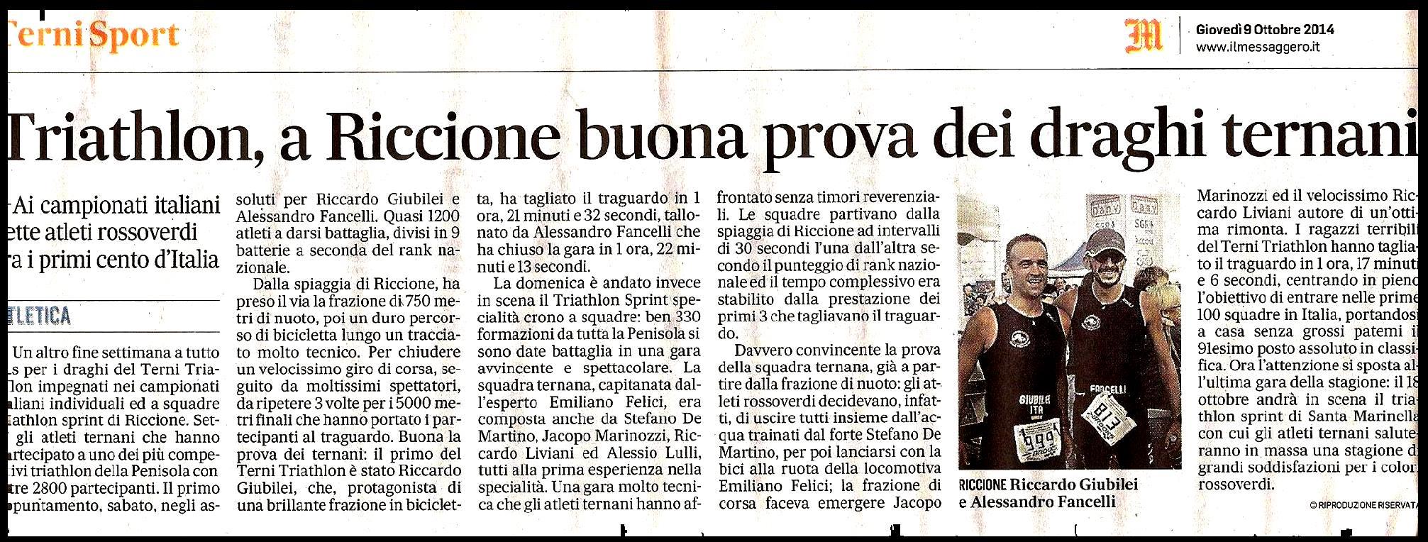 messaggero del 9 ottobre 2014 Terni Triathlon al campionato italiano